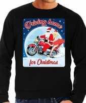 Zwarte foute kersttrui sweater driving home for christmas voor motorfans voor heren