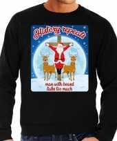 Zwarte foute kersttrui sweater history repeats too voor heren