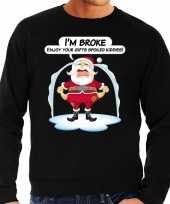 Zwarte foute kersttrui sweater im broke enjoy your gits voor heren