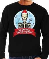 Zwarte foute kersttrui sweater last christmas i gave you my heart voor heren