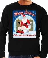 Zwarte foute kersttrui sweater merry shitmas losing a turkey voor heren