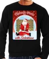 Zwarte foute kersttrui sweater nobody fucks with sinterklaas voor heren