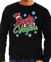 Zwarte foute kersttrui sweater santa hates vegans voor heren